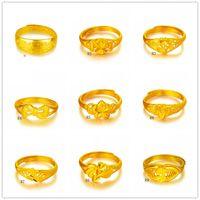 Online te koop Mode Dames 24 K Gold Plate Ring 10 stuks Veel gemengde stijl, Dragon Section Hollow Geel Vergulde Ringen DFMKR1