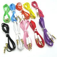 DHL GRATIS 1M / 3FT Colorido fideos planos de 3,5 mm AUX Cable de audio Jack Macho al cable de cable estéreo de enchufe masculino para teléfonos móviles