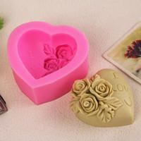 I Love U Rose Flower Silicone Moule Stampo per fondente Stampi per dolci Decorazioni Forniture Valentine Lover Decorazioni per torte fai-da-te kalp E5M1
