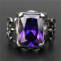 3pcs / lot Nouveau Design Énorme Violet Pierre Pierre Du Rhin En Acier Inoxydable 316L Bijoux De Mode Fleur Violet Anneau