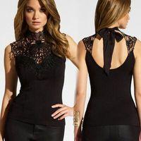 Mode neue Damen Sleeveless Chiffon Bluse Spitze Top Shirt Bluse Frauen Kleidung Freies Verschiffen