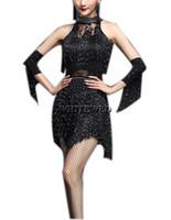 Perlen Quaste Halter Damen Latin Rumba Cha Cha Samba Salsa Tango inspiriert Performance Wear Halloween Dance Class Group Kleider