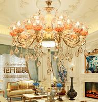 Style européen en alliage de zinc pendentif en cristal de jade atmosphère luxueuse salon salle à manger chambre double composé hôtel bougie lampes et lant