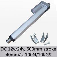 24inch / 600mm curso longo atuador linear 40mm / s velocidade 100n 10kgs capacidade de carga elétrica dc 12v e 24v com suportes de montagem