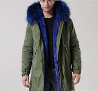 Longo estilo meifeng marca homens casacos de inverno homens casacos de neve 100% azul forro de pele de coelho exército verde lona longa parkas peles pródigo