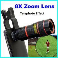 Neueste universal handy teleskop 8x zoom objektiv mit clip vergrößerung optische tele kamera objektiv für iphone samsung htc smartphone