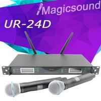 Nueva llegada !! ¡Calidad superior UR24D para el escenario! PLL True Diversity Sistema inalámbrico UHF UR4D con doble micrófono inalámbrico de mano
