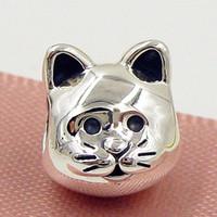 2015 nuevo otoño 100% 925 Sterling Silver Curious Cat Charm Bead adapta European Pandora joyería pulseras collar