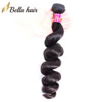 Grade 9A Bonds de cheveux péruviens 100% extension non transformée 2pcs / lot couleur naturelle vague lâche trahing
