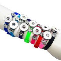 뜨거운 판매 9 색 실리콘 219 패션 18mm 스냅인 단추 팔찌 교환 할 수있는 매력 여자 아이를위한 틴 에이저 20cm * 08cm