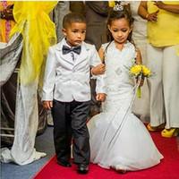 2018 sirena del cordón de las muchachas de flor vestidos para las bodas joya del cuello de la princesa vestidos de bola niñas vestidos de desfile por encargo