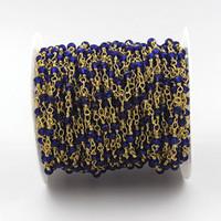 Großhandel Saphirblau Rosenkranz Stil Perlenkette-4x3mm Facettierte Rondellen Saphirblau Perlen Draht gewickelt Goldkette Perlen C4654