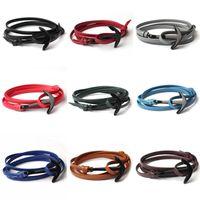 Pulseiras De Couro Unisex Preto Âncora Charm Bracelets Moda Cuff Pulseira Bangle Multilayer Leather Wrapped Charm Bracelet