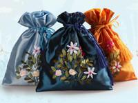 Gratis schip 20 stks handgemaakte hoge kwaliteit 17 * 21 cm borduurbrocade brocart tas sieraden tassen snoep kralen tassen bruiloft gift bags