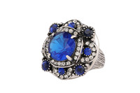 2016 summer Hot European and American big crystal ring Fashion generous agate ring jewelry wholesale women jewelry