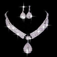 Venda quente 2019 dois pedaços conjuntos de nupcial jóias colar brincos de luxo acessórios de casamento para qualquer ocasião especial