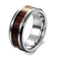 Commercio all'ingrosso- stile classico 8mm anello da uomo anello in acciaio inox anello retrò legno scuro grano design uomo promessa anello per il regalo del partito