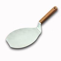 50 قطع الخشب مقبض المقاوم للصدأ كعكة رافع البيتزا خادم كوكي ملعقة كبيرة البيتزا مجرفة الخبز أداة زينة ZA4901