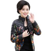 Giacche da donna all'ingrosso- 2021 Giacca invernale Slim Down Cotton Parkas Womens Flower Coats Plus Size Zippers Capispalla Donna Stampa di stoffa