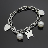 Top quality 316L stainless steel with Pearl heart Butterfly ...