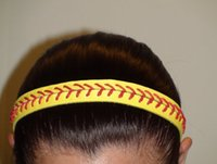 2018 yellow softball red stitching really leather headbands ...