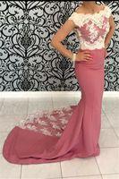 2019 Coral color de la sirena vestido de fiesta de alta calidad apliques largo Pageant vestido de fiesta de noche más tamaño vestidos de festa