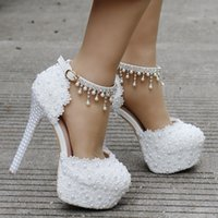 New 14 cm high heel wedding shoes Fine with waterproof big y...