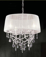 Modern K9 Crystal Chandelier Light With Fabric Shade Lampsha...