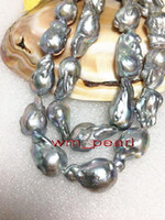 "Fine Pearls Jewelry LONG REAL 18 ""25-30mm NATURAL south sea barocca argento grigio perla collana"