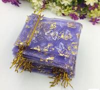 Tamaño cerca de 10 * 12 cm Organza púrpura de la mariposa bolsa de gasa de oro / bolsa de gasa regalo / primera bolsa de joyería / bolsa / bolsa / bolso 100pcs / lot liberan WQ25