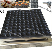 Freies Verschiffen Kommerzielle Nonstick 45mm 100 stücke Poffertjes Mini Dutch Pancake Maker Eisen Maschine Bäcker Grillform Platewith Batter Dispenser