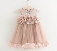 Großhandel Sommer-neue Mädchen-Fee Kleid Petal Fluffy Gaze-Kleid Sommerkleid-Kind-Kleidung 2-6Y GE519