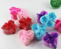 Colorato a forma di cuore Rose Soap Flower Romantic Wedding Party Gift Handmake Flower Petals Decor Regalo di Natale