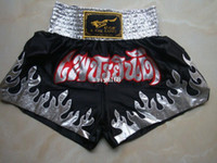Free Shipping Silver flame muay thai shorts boxing pants sho...