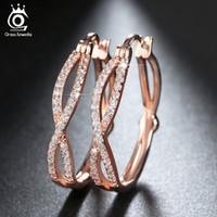 Gümüş / Gül Altın / Altın Kaplama Infinity Küpe Kadınlar için Kaplamalı luxry Kübik Zirkon Moda Hoop Küpeler Takı OE141