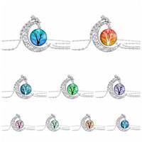 Модные кабошоны стеклянная луна ожерелье звездное космическое пространство вселенная подвески драгоценный камень дерево жизни ожерелья для женщин ювелирные аксессуары