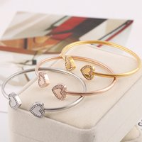 New design bangle with double heart and diamond for women si...