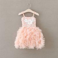 여아 파티 드레스 새들은 flowres 드레스 여자들은 레이스 suspender 계층화 된 얇은 명주 그물 투투 드레스 아이 드레스 핑크 A9360