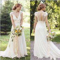 2016 oceanside Wedding Dress A Line Cap Sleeve chiffon Brida...