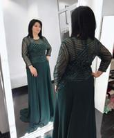 Manche Longue Mere De Mere De La Mariée Robes Robes Perlées Vert Chasseur Pas Cher 2018 Femmes Tenue De Soirée Formelle Pour Mariage