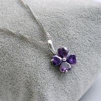 Новое поступление стерлингового серебра 925 пробы австрийский хрусталь четырехлистный клевер кулон свадебный кулон фиолетовый белый серебряный ожерелье волна воды