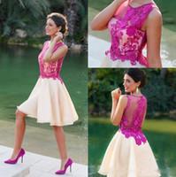 Sheer pescoço curto vestidos de festa de linha ruched fushia lace apliques ruched organza noite formal vestidos de baile barato dubai árabe vestidos
