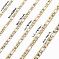 4/5/6/7 / 7.5 / 8mm Paslanmaz Çelik Figaro Zincir kolye Yüksek Kalite Link Zinciri Kolye altın ton Erkekler Takı Toptan
