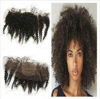 Afro Crépus Bouclés Soie Base Dentelle Frontale 13x4 Blanchis Noeuds 7A Non Transformés Mongols De Cheveux Humains Soie Top Dentelle Frontale Fermeture Livraison Gratuite