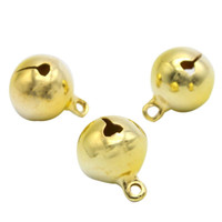 El envío libre, 6 mm de oro Jingle Bell cuelga los encantos con Loop pequeñas campanas Fit Festival joyería colgantes del encanto granos