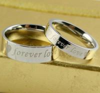 جديد 316L التيتانيوم الصلب حلقات الزفاف للأبد الحب الفولاذ المقاوم للصدأ زوجين الدائري الرجال النساء الخطبة حلقات حلي بالجملة مجوهرات بالجملة