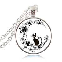 Schwarze Katze in Blumen-Mond-Halskette Crescent Moon Anhänger netten Tier Schmuck Glascabochon Silber Bronze Ketten Statement Kette für Frauen