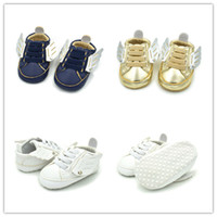 Cute baby Wings first walkers 3 colors gold dark blue white ...
