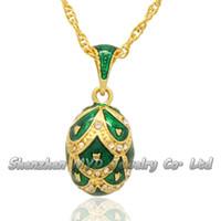 Moda mujer joyería de alta calidad collar de color esmaltado hecho a mano de cristal estilo ruso Faberge huevo colgantes para damas