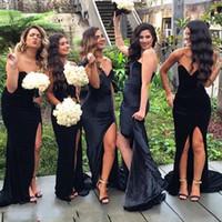 Sexy 2016 черный бархат милая русалка невесты платья длинные дешевые боковые сплит длинные горничные чести платья плюс размер на заказ EN8253